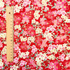 Japanese - red metallic cherry blossom flowers cotton fabric W:145cm FQ2006-19