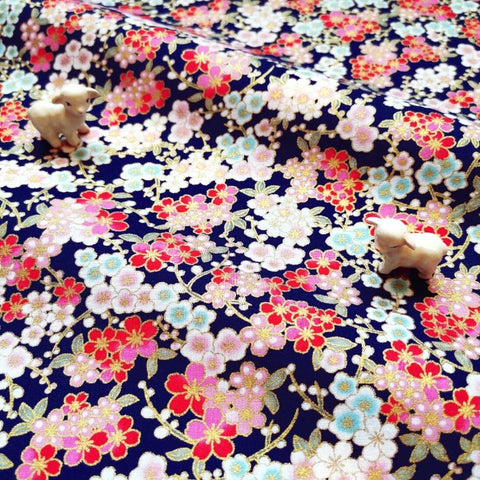 Japanese - blue navy metallic cherry blossom flowers cotton fabric W:145cm FQ2006-20