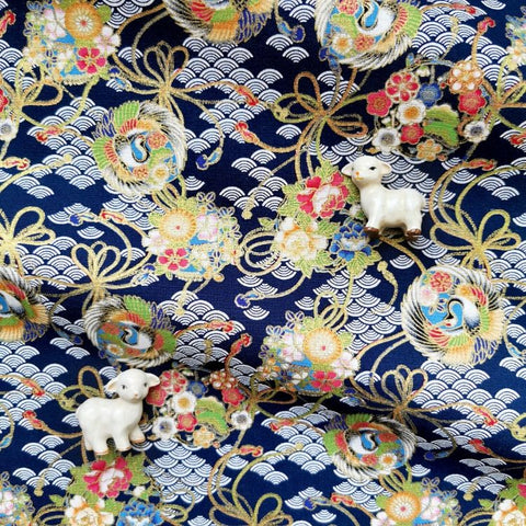Japanese - blue navy & gold metallic crane & cloud cotton fabric W:144cm FQ2006-27