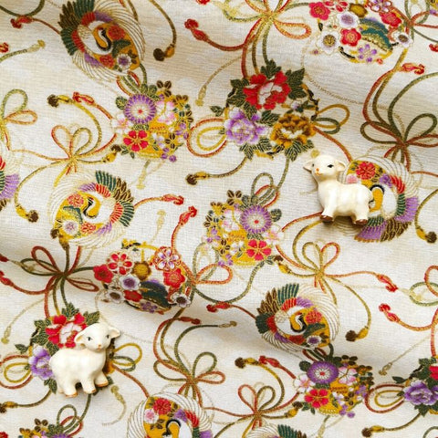 Japanese - beige & gold metallic crane & cloud cotton fabric W:144cm FQ2006-28