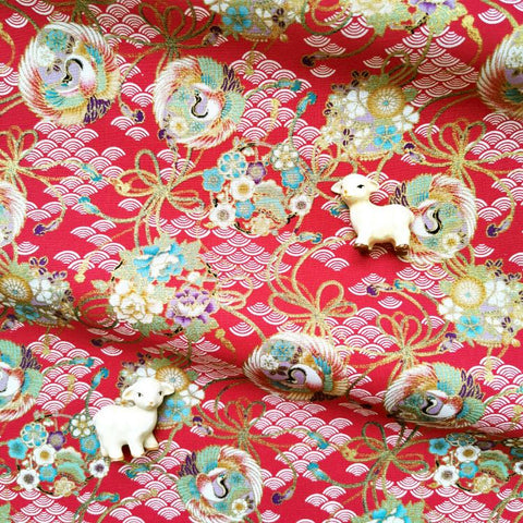 Japanese - red & gold metallic crane & cloud cotton fabric W:144cm FQ2006-29