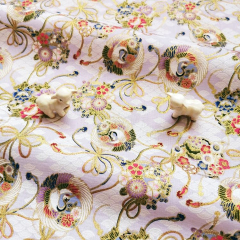Japanese - purple lilac & gold metallic crane & cloud cotton fabric W:144cm FQ2006-30