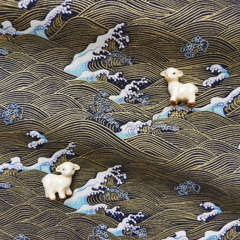 Japanese - blue navy & gold metallic crane & tides cotton fabric W:144cm FQ2006-32