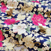 Japanese - blue navy & gold metallic peony cotton fabric W:144cm FQ2006-33