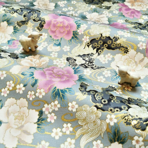 Japanese - grey multicolour & metallic peony cotton fabric W:144cm FQ2006-34