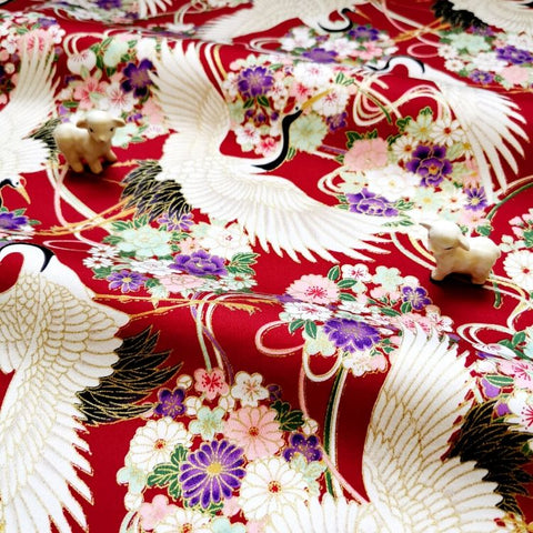 Japanese - red metallic giant cranes stretchy cotton fabric W:144cm FQ2006-35