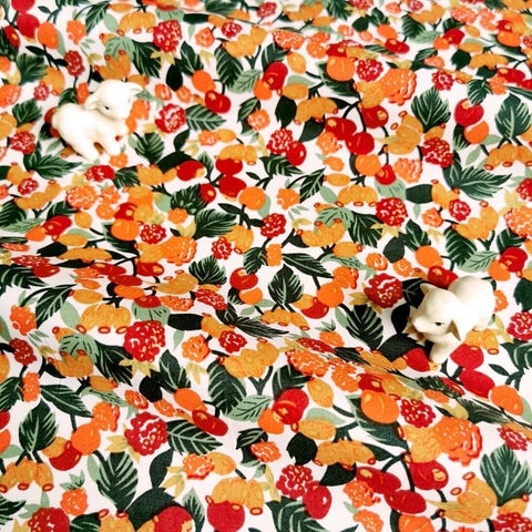 Fruits - orange & red cherry & raspberry cotton fabric W:142cm FQ2006-47