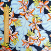 Flowers - blue & green midnight summer floral cotton fabric W:142cm FQ2006-53