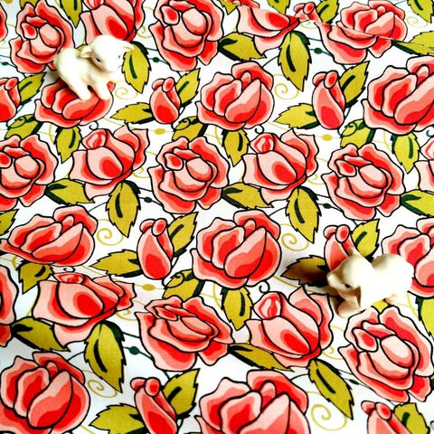 Flowers - gorgeous red roses cotton fabric W:142cm FQ2006-54