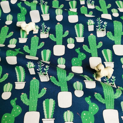 Cactus - blue navy & green cotton fabric W:142cm FQ2006-58