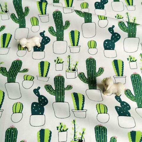 Cactus - white & green cotton fabric W:142cm FQ2006-59