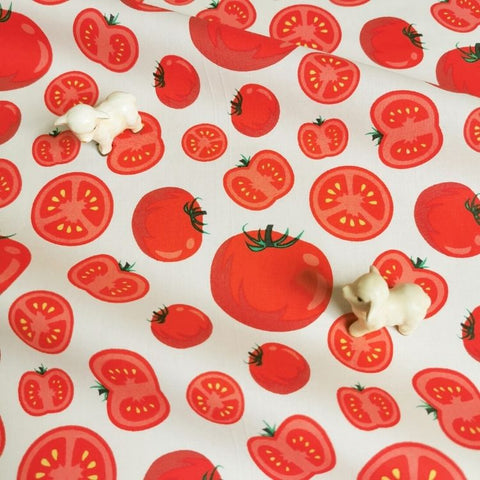 Fruit - red & white juicy tomato cotton fabric W:142cm FQ2006-61