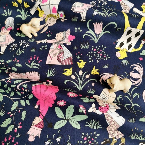 Alice in Wonderland - blue navy & pink cotton fabric W:142cm FQ2006-64