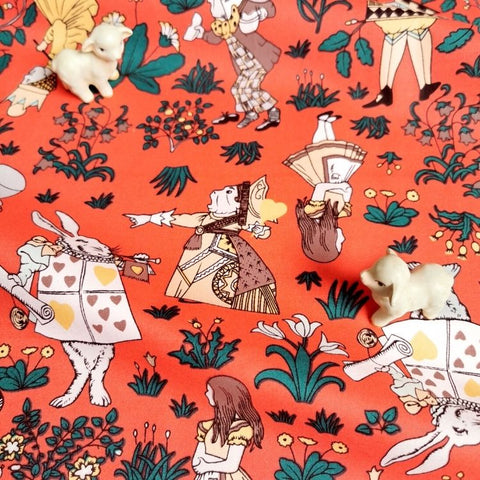 Alice in Wonderland - orange cotton fabric W:142cm FQ2006-66