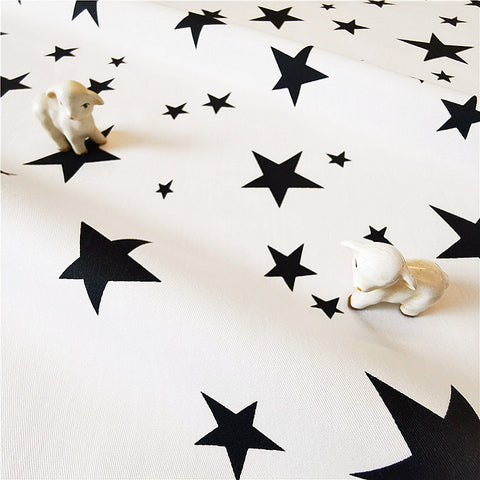 My Fabric House - Stars - monochrome white & black cotton fabric w:160cm FQ2007-01