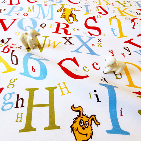 My Fabric House - Dr Seuss - white multicolour alphabet cotton fabric W145cm FQ2007-04