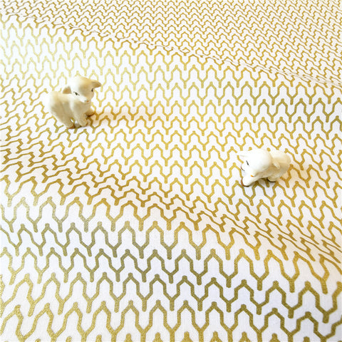 My Fabric House - Gold & white trellis cotton fabric w140cm