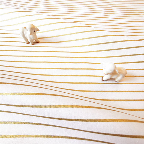 Gold & white 2mm stripes cotton fabric W:140cm FQ2007-09