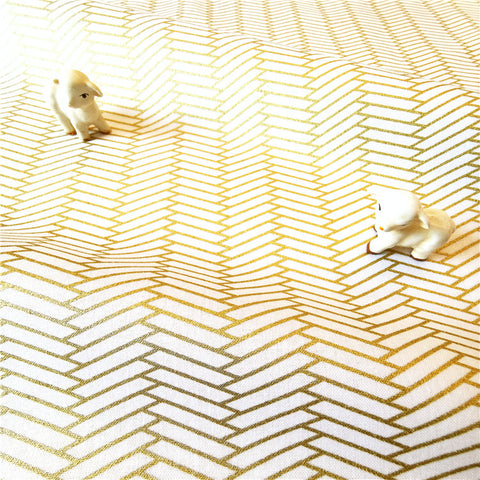 Gold & white honeycomb cotton fabric w:140cm FQ2007-10