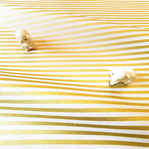 My Fabric House - Gold & white 4mm stripes cotton fabric W:140cm FQ2007-11
