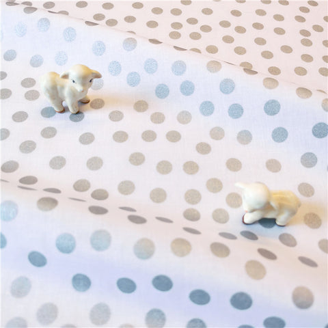 Polka Dots - silver & white 9mm spotty cotton fabric W:140cm FQ2007-16