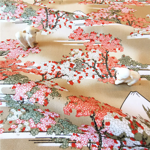 My Fabric House - Japanese - gold & pink mount Fuji & cherry blossom cotton fabric W:144cm FQ2007-17