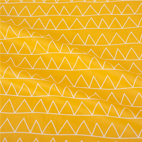 Triangle - yellow & white bunting geometric cotton fabric W:160cm FQ2102-05