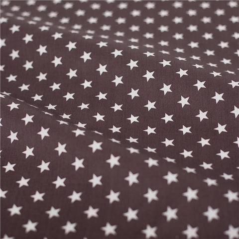 Stars - brown & white petite star cotton fabric W:160cm FQ2102-07