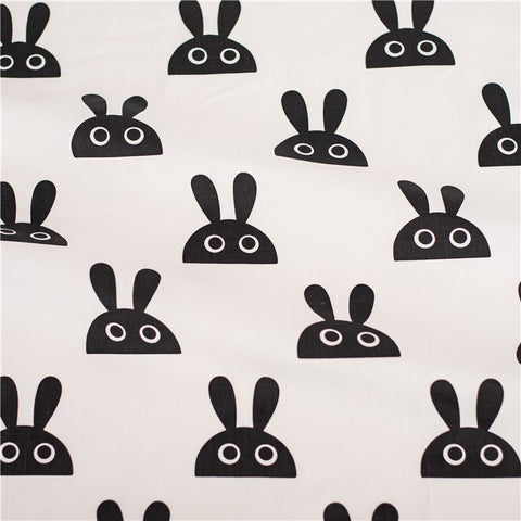 Monochrome - white & black bunny rabbit heads cotton fabric W:160cm FQ2102-22