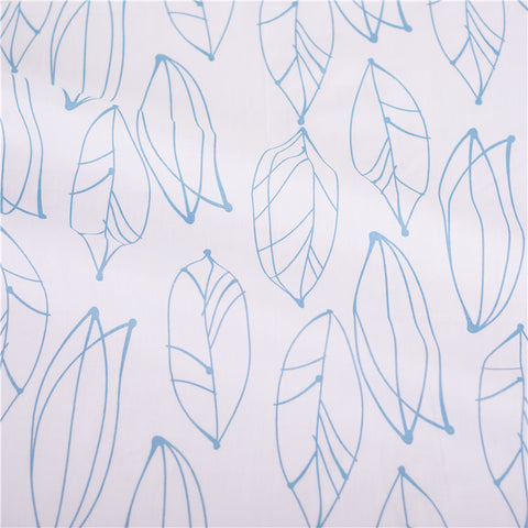 Leaf - white & blue long leaves prints cotton fabric W:160cm FQ2102-29