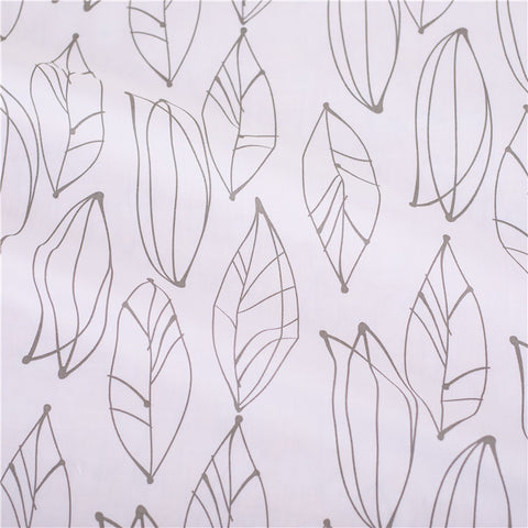Leaf - white & grey monochrome long leaves prints cotton fabric W:160cm FQ2102-30