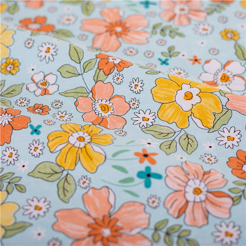Flowers - blue multicolour hand drawing prints cotton fabric W:160cm FQ2102-31