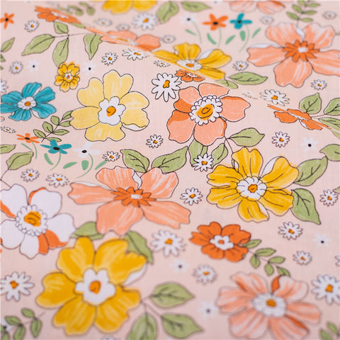 Flowers - pink multicolour hand drawing prints cotton fabric W:160cm FQ2102-32