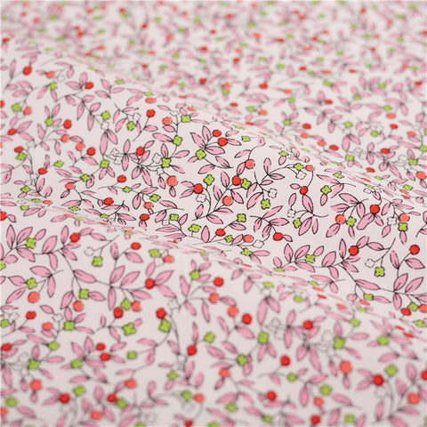 Flowers - pink & green multicolour hand drawing prints cotton fabric W:160cm FQ2102-34