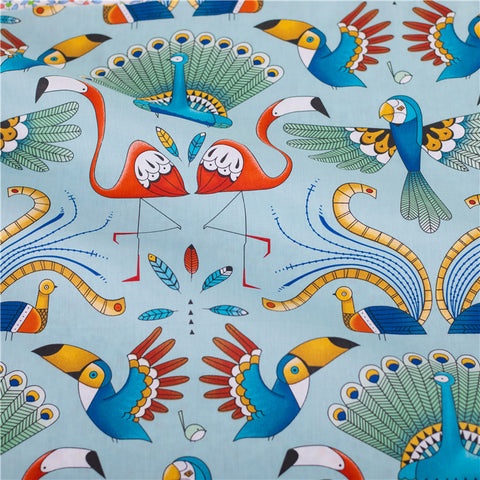 Zoo - blue multicolour exotic animals parrot & peacock cotton fabric W:160cm FQ2102-35