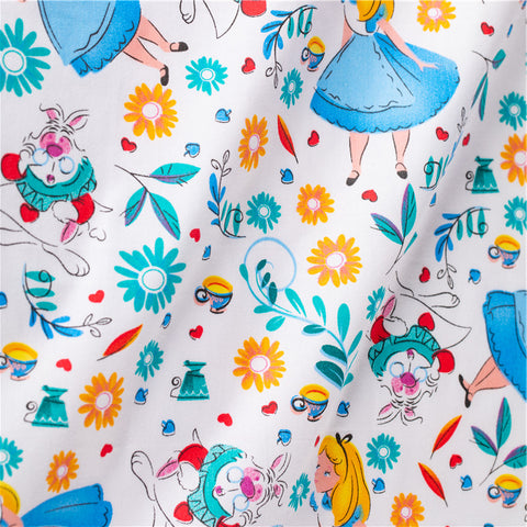 Alice in Wonderland - white multicolour cotton fabric W:160cm FQ2101-39