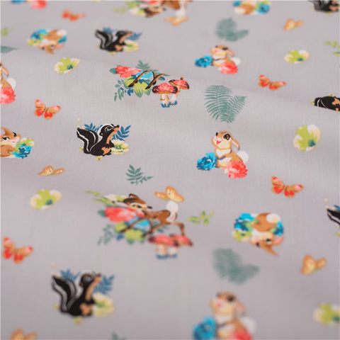 Woodland - cream deer fawn & squirrel cotton fabric W:160cm FQ2101-42