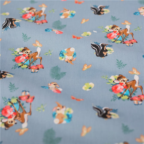 Woodland - grey deer fawn & squirrel cotton fabric W:160cm FQ2101-43