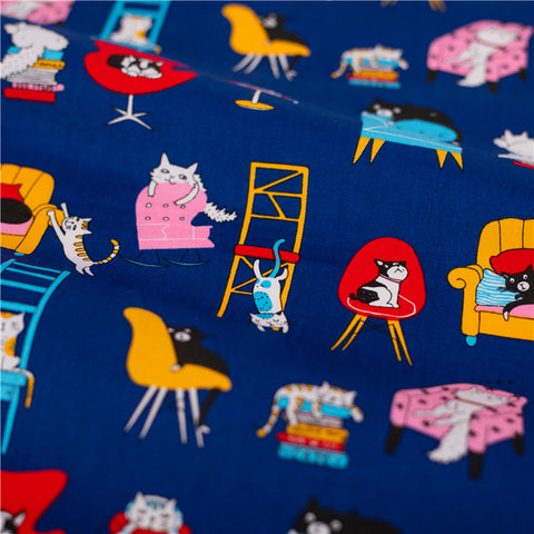 Pets - blue navy cats & dogs in my house cotton fabric W:160cm FQ2101-44