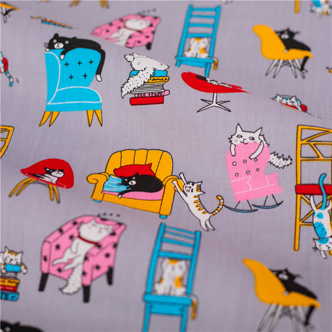 Pets - grey cats & dogs in my house cotton fabric W:160cm FQ2101-45
