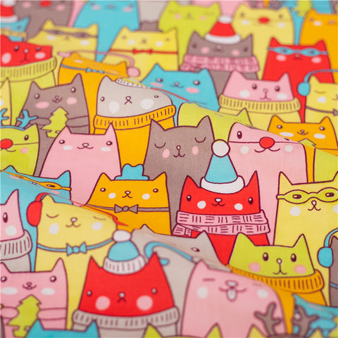 Pets - multicolour cats cotton fabric W:160cm FQ2101-46