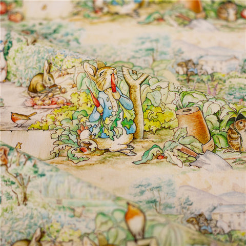 Easter - green Peter Rabbit cotton fabric W:148cm FQ2101-48
