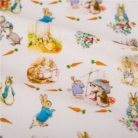 Easter - white Peter Rabbit cotton fabric W:148cm FQ2101-48
