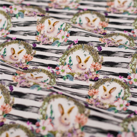 Easter - black & white stripes bunnny rabbit & flowers cotton fabric W:148cm FQ2101-49