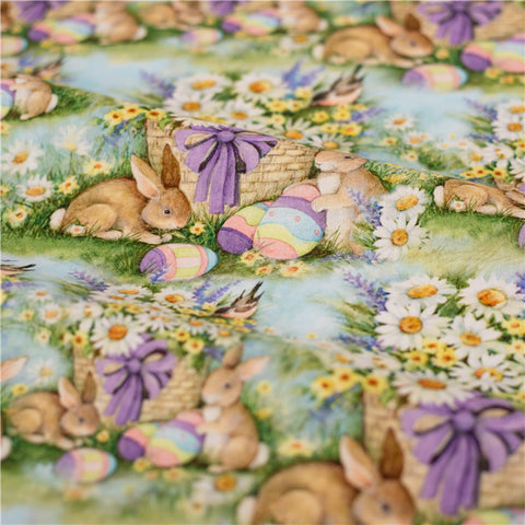 Easter - green bunny rabbit & eggs cotton fabric W148cm FQ2102-50