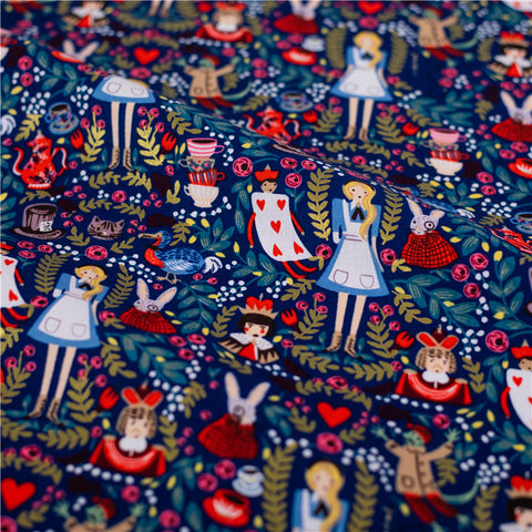 Alice in Wonderland - blue navy multicolour cotton fabric W:140cm FQ2103-01