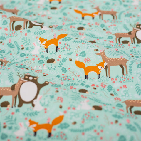 Woodland - blue & orange deer fox & bears cotton fabric W148cm FQ2103-04