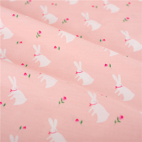 Easter - pink bunny rabbit & rose cotton fabric W:115cm FQ2103-06