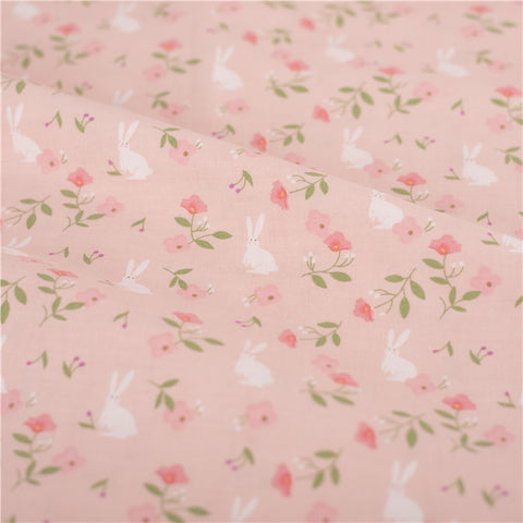 Easter - pink small bunny rabbit & roses cotton fabric W:115cm FQ2103-07