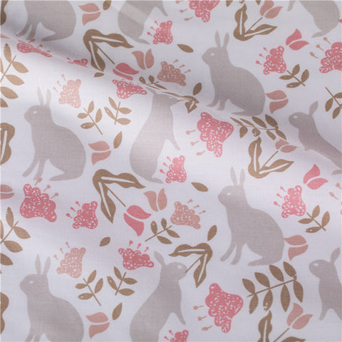 Easter - pink & grey bunny rabbit & leaves cotton fabric W:115cm FQ2103-08